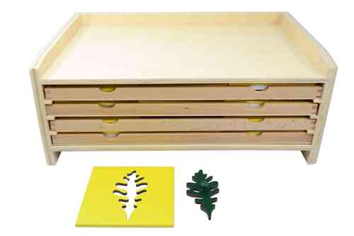Leaf Cabinet with 3 Drawers and 14 Insets W O O D  AJ