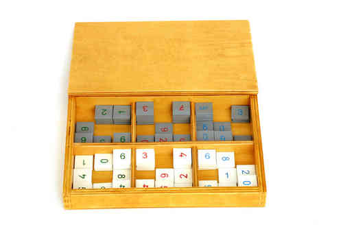 Grey and White Number Tiles in a Box (G-Print)